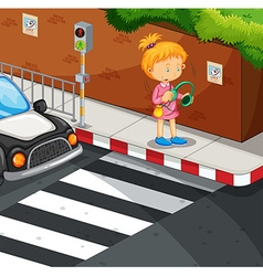 Girl listening to music on the pavement vector