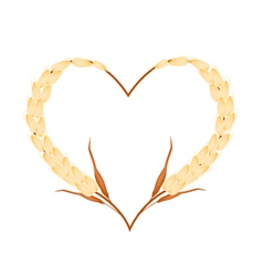 Golden color of millet in a heart shape vector