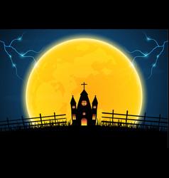 Halloween graveyard church cross thunderbolt vector