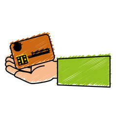 Hand human with credit card isolated icon vector