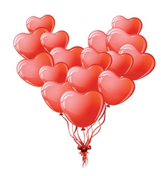 Heart shaped red balloons vector image vector image