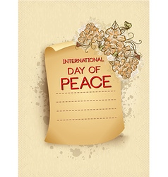 International day of peace with torn paper vector