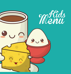 Kids menu nutrition diet food vector
