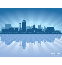 Lansing Michigan city skyline silhouet vector image vector image