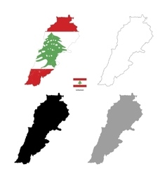 Lebanon country black silhouette and with flag on vector