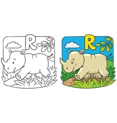 Little rhino coloring book alphabet r vector