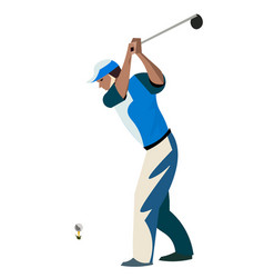 Men cartoon playing golf vector