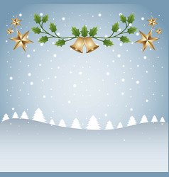 merry christmas card template tree snow and branch vector image