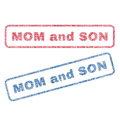 Mom and son textile stamps vector