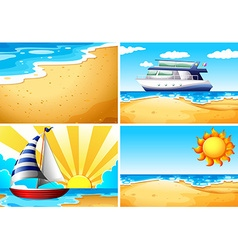 Nature scenes with beach and ocean vector image