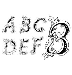Outline floral font vector image vector image