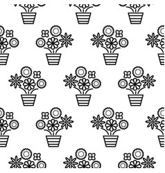 Outline flowers in pots seamless pattern texture vector