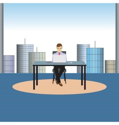 Person businessman sitting at the table vector image