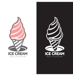 pink ice cream logo vector image vector image