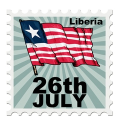 Post stamp of national day of liberia vector