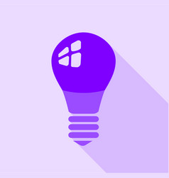 Purple electric bulb icon flat style vector