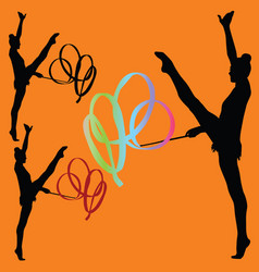 rhythmic gymnastics with ribbon silhouette vector image