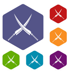 Samurai swords icons set hexagon vector