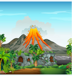 scene with volcano and cavehouse vector image vector image
