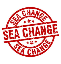 Sea change round red grunge stamp vector