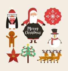 Set figures happy merry christmas card vector