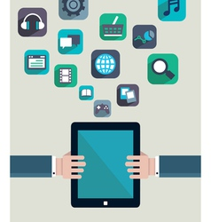Social media concept resources of tablet pc vector
