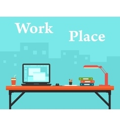 Work place on business office and city silhouette vector