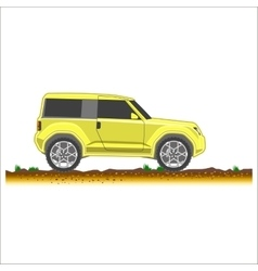 Yellow suv car off-road 4x4 icon colored vector