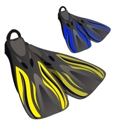 Yellow and blue fins element of diving suit vector