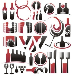 Set of wine icons symbols signs and logos vector image