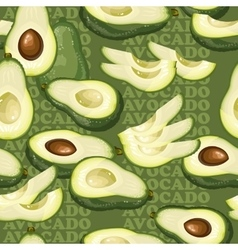 Seamless texture with avocado and slices on green vector