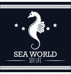 sea world life seahorse label design vector image