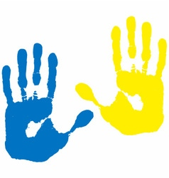 blue yellow hand print vector image