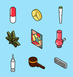 Drugs flat outline isometric icons vector
