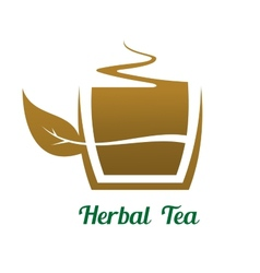 Steaming cup of herbal tea icon or label vector