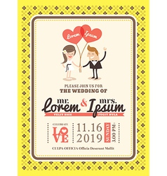 Groom and bride wedding invitation card template vector
