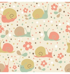 Snail seamless pattern vector