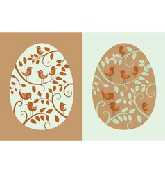 Easter eggs with bird vector