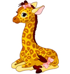 Giraffe calf with bow vector