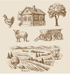 Farm and animals hand drawn vector