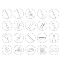 Stationery tools office linear icons set vector