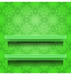 Green shelves on ornamental background vector