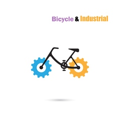 Bicycle logo design icon and gear sign vector