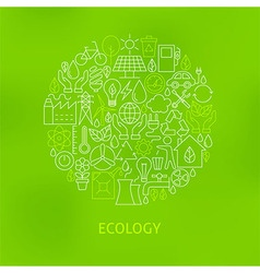 Thin line eco green power icons set circle concept vector