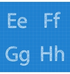 Sketched letters e f g h on blueprint background vector