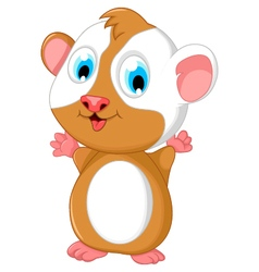 Happy fat hamster cartoon posing vector