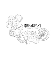 Full english breakfast set hand drawn realistic vector