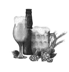 beer design in stippling technique vector image vector image