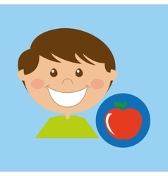 Boy cartoon school apple icon design vector