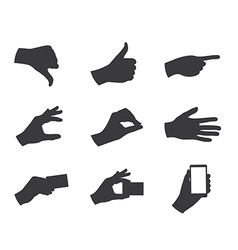 business hand gestures silhouette vector image vector image